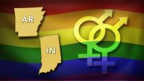 HEATED BATTLE Arkansas Indiana  gay symbols monitor