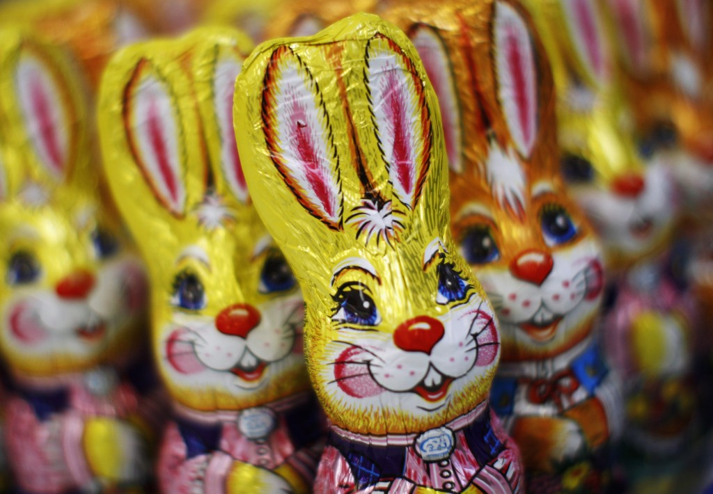 Chocolate easter bunnies are pictured at the Hauswirth confectioner factory in Kittsee, some 60 km (37 miles) east of Vienna, March 24, 2011. Hauswirth GesmbH processes 20 tons of chocolate per day during peak seasons and exports its products mainly to South Africa and Australia. REUTERS/Lisi Niesner (AUSTRIA - Tags: FOOD BUSINESS SOCIETY) - RTR2KCQS