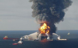 Response crews battle the blazing remnants of the Deepwater Horizon oil rig off the Louisiana coast on April 21, 2010. Courtesy of U.S. Coast Guard/Reuters