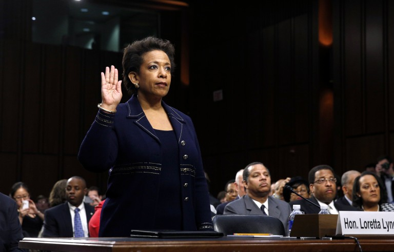 Loretta Lynch is sworn in to testify before a Senate Judiciary Committee confirmation hearing on her nomination to be U.S. attorney general on Capitol Hill in Washington on Jan. 28, 2015. Photo by Kevin Lamarque/Reuters