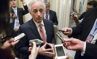 Chairman of the Senate Foreign Relations Committee Senator Bob Corker, R-TN, speaks to reporters on Capitol Hill in Washington, D.C. on Feb. 11, 2015. Photo by Joshua Roberts/Reuters