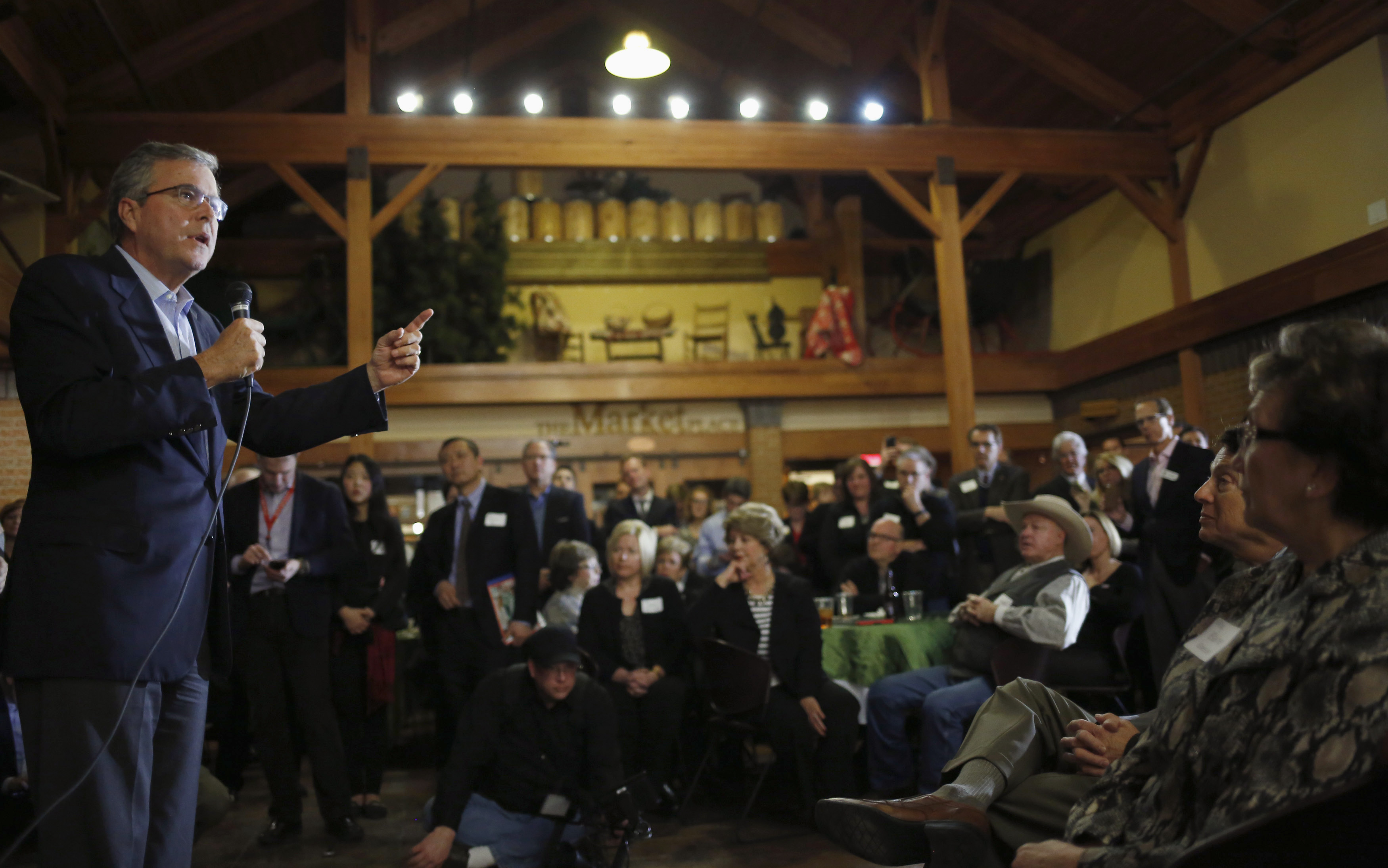 Former Governor of Florida Jeb Bush, a likely 2016 presidential candidate, speaks at a fundraiser for U.S. Rep. David Young (R-IA) in Urbandale, Iowa, March 6, 2015.  Pastors play an important role in mobilizing voters in Iowa, which can afford them face time and influence with candidates. Photo by Jim Young/Reuters