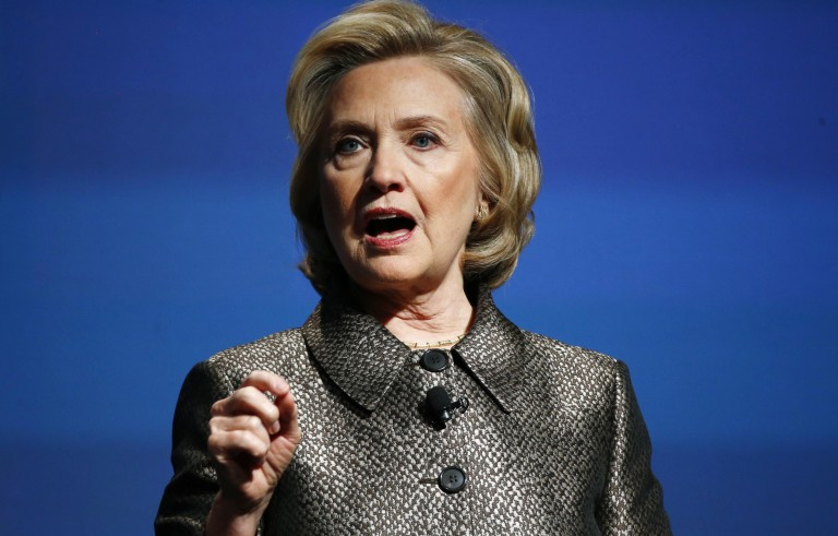 """Former U.S. Secretary of State Hillary Clinton speaks during a Gates Foundation event in New York, March 9, 2015. Clinton, Gates Foundation Co-Chair Melinda Gates and Clinton Foundation Vice Chair Chelsea Clinton are hosting global and community leaders for the release of the """"No Ceilings Full Participation"""" report, pushing for equal opportunities for women and girls.  REUTERS/Lucas Jackson (UNITED STATES - Tags: POLITICS) - RTR4SMRA"""