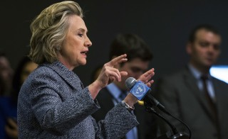 Former U.S. Secretary of State Hillary Clinton speaks during a news conference at the United Nations in New York, March 10, 2015. The pending nuclear agreement with Iran is a delicate issue for Clinton. Photo by Lucas Jackson/Reuters