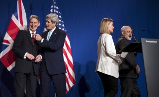 British Foreign Secretary Hammond, U.S. Secretary of State Kerry, EU High Rep for Foreign Affairs Mogherini and Iranian Foreign Minister Zarif are seen after nuclear talks in Lausanne