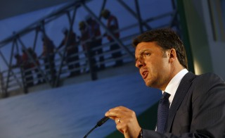 Italy's Prime Minister Matteo Renzi addresses guests during the inauguration of the Malta-Italy Interconnector in Maghtab, outside Valletta on April 9, 2015. Photo by Darrin Zammit Lupi/Reuters