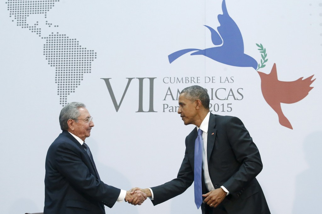 U.S. President Barack Obama and Cuba's President Raul Castro shook hands on Friday at the Summit of the Americas in Panama April 11, 2015, a symbolically charged gesture as the pair seek to restore ties between the Cold War foes. President Obama must now gain Congress's approval to move forward with his foreign policy agenda in both Iran and Cuba. REUTERS/Jonathan Ernst
