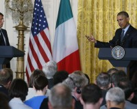 U.S. President Obama and Italian Prime Minister Renzi hold joint news conference at the White House in Washington