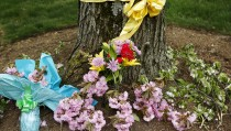 Flowers of remembrance are seen outside the home of Warren Weinstein in Rockville