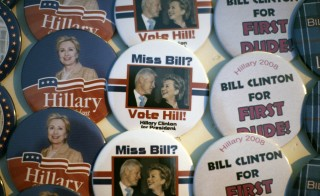 Campaign buttons read various slogans supporting then-U.S. presidential candidate, Sen. Hillary Clinton (D-NY) and her husband, former President Bill Clinton, before a rally in Des Moines, Iowa on Dec. 7, 2007. Photo by Jason Reed/Reuters