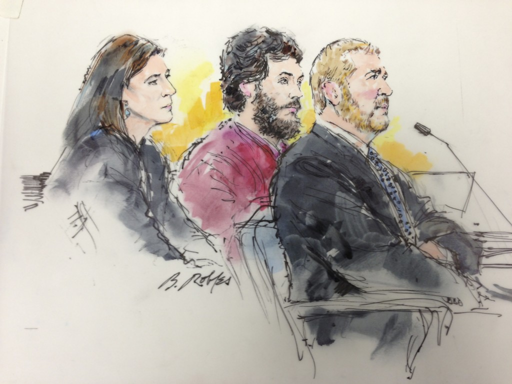 "Colorado shooting suspect James Holmes (C) and his public defenders Tamara Brady (L) and Daniel King (R) are pictured in a courtroom sketch during a hearing in Centennial, Colorado April 1, 2013. Prosecutors in Colorado will seek the death penalty for accused movie theater gunman James Holmes for killing 12 people at a midnight showing of the Batman film, ""The Dark Knight Rises"" in 2012. Photo by Bill Robies/Reuters"