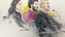 """Colorado shooting suspect James Holmes (C) and his public defenders Tamara Brady (L) and Daniel King (R) are pictured in a courtroom sketch during a hearing in Centennial, Colorado April 1, 2013. Prosecutors in Colorado will seek the death penalty for accused movie theater gunman James Holmes for killing 12 people at a midnight showing of the Batman film, """"The Dark Knight Rises"""" in 2012. Photo by Bill Robies/Reuters"""