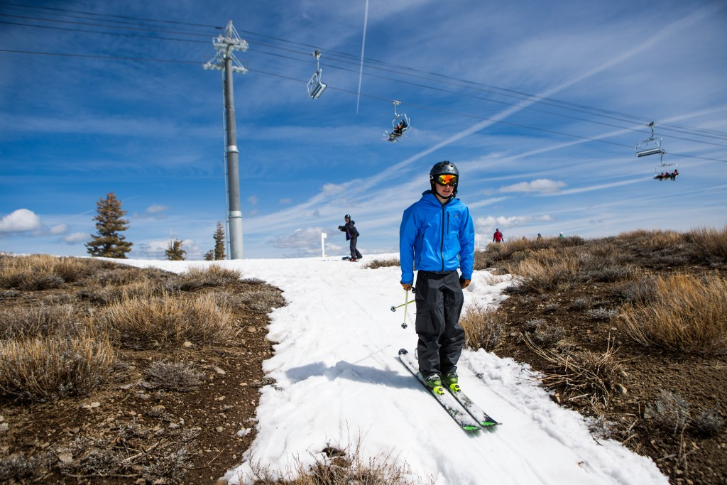A skier threads his way through patches of dry ground at Squaw Valley Ski Resort in Olympic Valley, California, on March 21. Photo by Max Whittaker/Getty Images