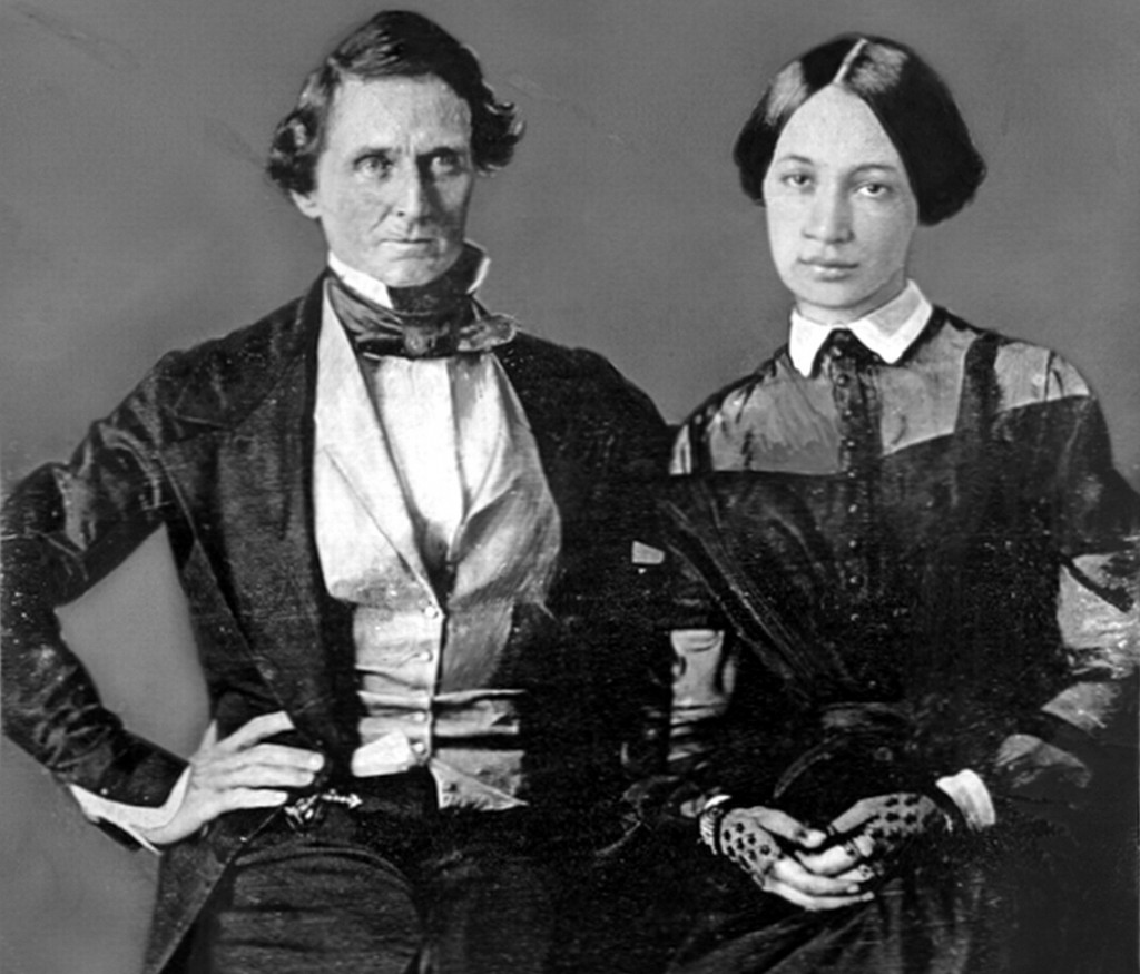 "Jefferson Davis, at the age of 37, with his bride, Varina Howell. From a daguerreotype in the possession of their granddaughter, Mrs. George B. Webb, Colorado Springs, Colorado. Photo from 1845, source: NYPL ""The Pageant of America"" Collection. Public Domain"