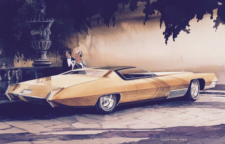 Wayne Kady, Cadillac El Dorado 1964. Wayne Kady is credited for the initial designs for the1967 El Dorado, of which this watercolor is an early version. Wayne Kady's designs were always sleek, elegant and powerful. Wayne Kady soon headed up the Cadillac Studio and his design influence for Cadillac would usher in many years of beautiful cars.