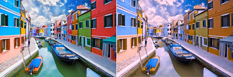 On the left, is a photo of Venice as seen by someone with colorblindness wearing the EnChroma glasses. On the right is the same scene as seen with someone with colorblindness. Image courtesy of EnChroma