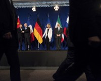 Chinese Ambassador to the UN Wu, French Foreign Minister Fabius, EU High Rep Mogherini and Iranian Foreign Minister Zarifat arrive to deliver statements following nuclear talks in Lausanne