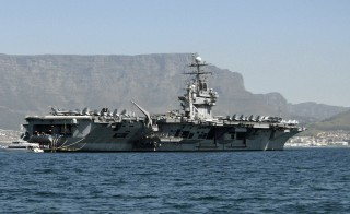 File photo of USS Theodore Roosevelt from Oct. 6, 2008. The naval aircraft carrier is reportedly heading to the waters off Yemen. Photo by Mark Wessels/Reuters