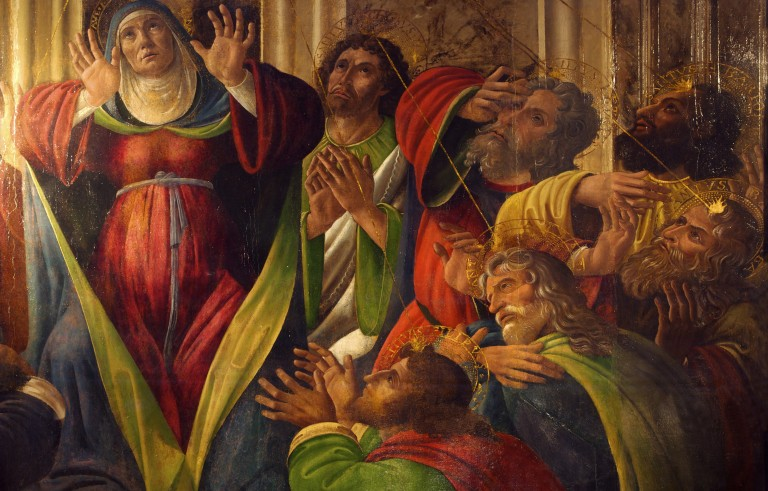 Alessandro Filipepi Botticelli painted this depiction of the holy ghost descending upon the apostles in the 16th century. Image via Getty Images