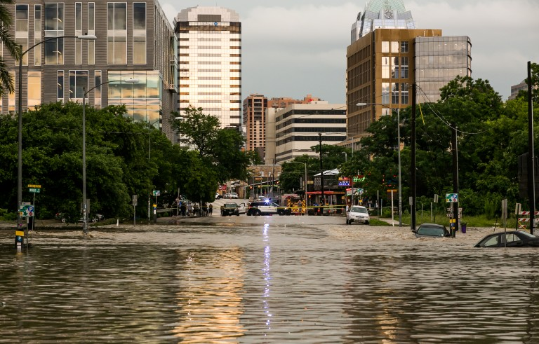 Drew Anthony Smith / Stringer Caption:AUSTIN, TX - MAY 25: Parts of the city are shown inundated after days of heavy rain on May 25, 2015 in Austin, Texas. Texas Gov. Greg Abbott toured the damage zone where one person is confirmed dead and at least 12 others missing in flooding along the Rio Blanco, which reports say rose as much as 40 feet in places, caused by more than 10 inches of rain over a four-day period. The governor earlier declared a state of emergency in 24 Texas counties. (Photo by Drew Anthony Smith/Getty Images)