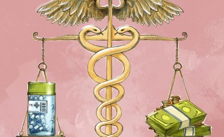 Illustrative image of medicine bottle and cash being measured in weighing machine Related words: pills, drugs, drug plan, Medicare, money, insurance