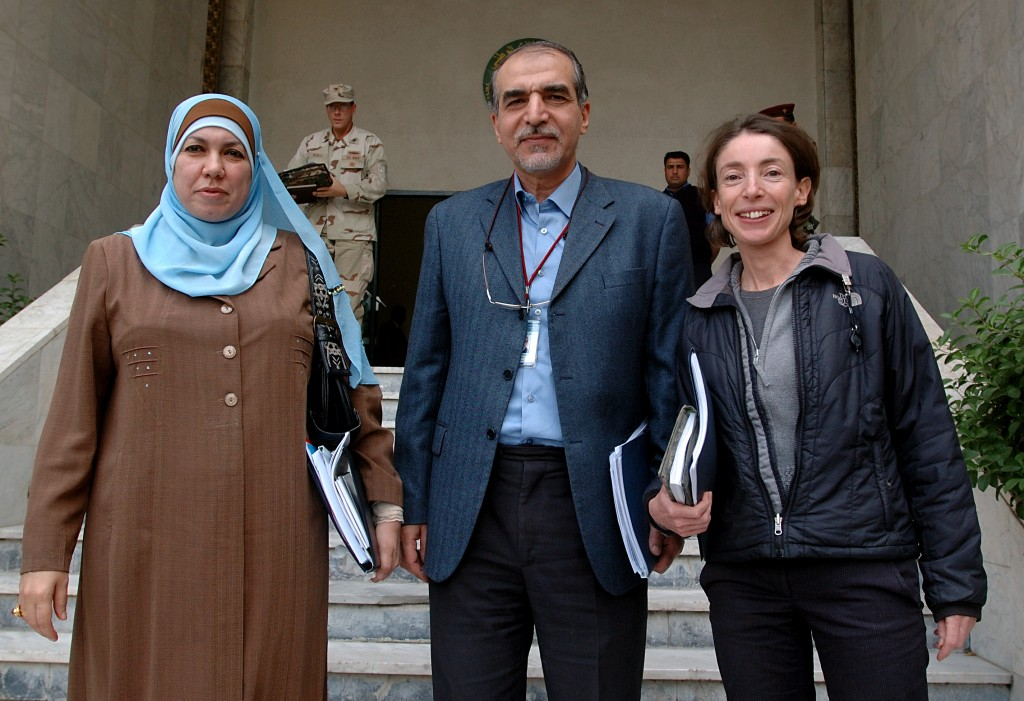 Dr. Basima al Jadiri, the top military adviser to Iraq' s former Prime Minister Nouri al Maliki, Safa al-Sheikh, Iraq's deputy national security advisor, and author Emma Sky. Photo by Curt Cashour