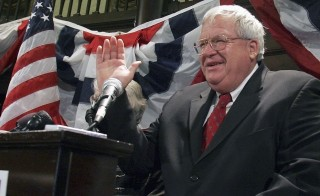 Former U.S. Speaker of the House Dennis Hastert (R-IL) waves to supporters during a Mid-term election night party in St. Charles, Illinois on November 7, 2006. Photo by Frank Polich/Reuters