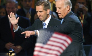 Then-Senator Joe Biden with his son Beau Biden at the 2008 Democratic National Convention in Denver, Colorado, August 27, 2008. Beau Biden died Saturday of brain cancer. Photo by Mike Segar/Reuters
