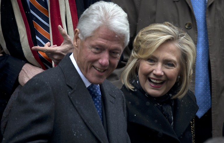 Former U.S. President Bill Clinton and former U.S. Secretary of State Hillary Clinton are pictured here in New York on Jan. 6, 2015. Photo by Carlo Allegri/Reuters