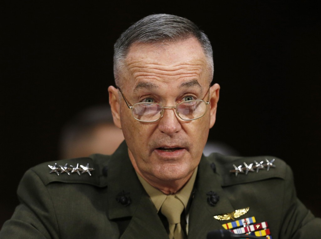 Commandant of the Marine Corps General Joseph Dunford, Jr., testifies before a Senate Armed Services Committee on military budget matters on Capitol Hill in Washington January 28, 2015. Photo by Gary Cameron/Reuters