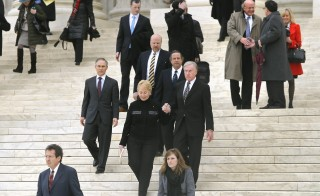 Members of the King v. Burwell plaintiffs' legal team exit the Supreme Court building after arguments in Washington, March 4, 2015. A recent poll shows few Americans have faith in the Court's ability to rule fairly on the case, which is the latest challenge to the Affordable Care Act. Photo by Jonathan Ernst/Reuters