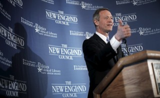 "Former Maryland Governor and probable Democratic Presidential candidate Martin O'Malley speaks at a ""Politics and Eggs"" breakfast in Bedford, New Hampshire on March 31, 2015. Photo by Brian Snyder/Reuters"