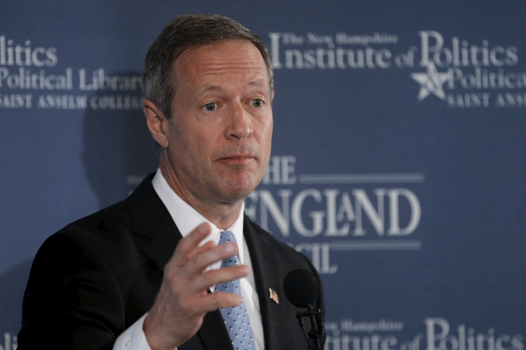 "Former Maryland Governor and probable Democratic Presidential candidate Martin O'Malley speaks at a ""Politics and Eggs"" breakfast in Bedford, New Hampshire march 31, 2015. Riots in Baltimore following the death of Freddie Gray has placed scrutiny on his law enforcement policies as mayor from 1999 to 2006. Photo by Bryan Snyder/Reuters."
