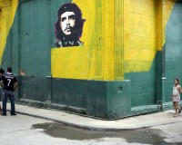 "An image of revolutionary hero Ernesto ""Che"" Guevara is seen on a street in Havana"