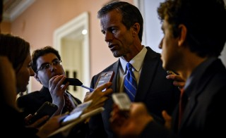 Senator Thune speaks with reporters following party policy lunch meetings in Washington