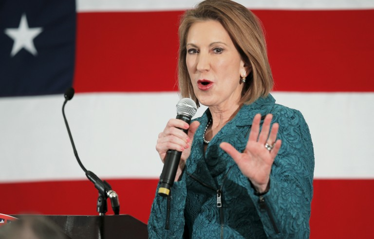 Potential Republican 2016 presidential candidate Carly Fiorina speaks at the First in the Nation Republican Leadership Conference in Nashua, New Hampshire April 18, 2015. Photo by Brian Snyder/Reuters
