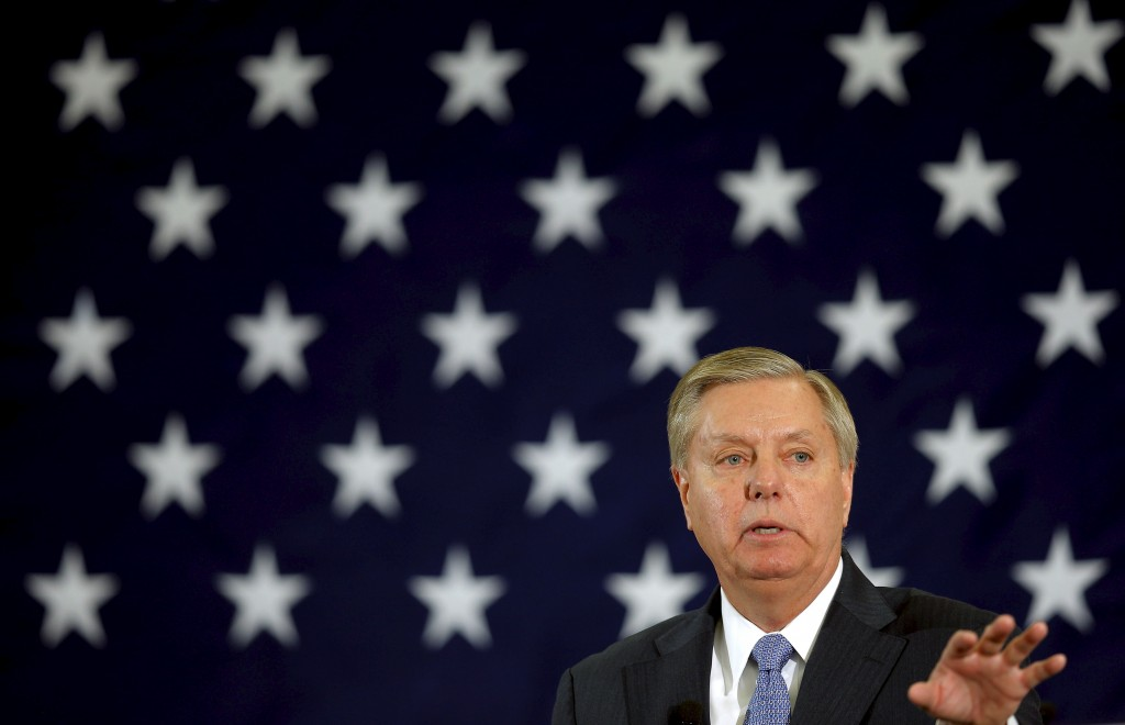 Potential Republican 2016 presidential candidate U.S. Senator Lindsey Graham (R-SC) speaks at the First in the Nation Republican Leadership Conference in Nashua, New Hampshire April 18, 2015. Brian Snyder/Reuters