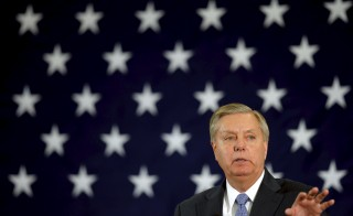 2016 Republican presidential candidate and U.S. Senator Lindsey Graham (R-SC) spoke at the First in the Nation Republican Leadership Conference in Nashua, New Hampshire on April 18, 2015. Photo by Brian Snyder/Reuters