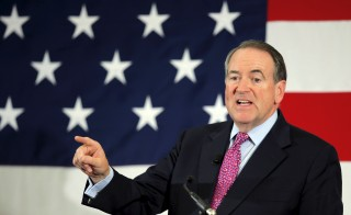 Republican 2016 presidential candidate Mike Huckabee speaks at the First in the Nation Republican Leadership Conference in Nashua, New Hampshire April 18. Photo by Brian Snyder/Reuters