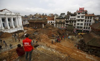 General view of Bashantapur Durbar Square, a UNESCO world heritage site, after the earthquake as rescue operation goes on in Kathmandu