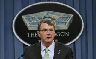 Defense Secretary Ash Carter speaks at a news conference on May 1, 2015. Speaking from Rome on Wednesday, Carter said the U.S. has no supported Moscow's fight against the Islamic State. Photo by Yuri Gripas/Reuters