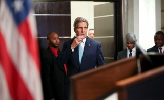 Secretary of State John Kerry, center, arrives at a news conference at the Nairobi Sankara Hotel on Monday in Nairobi, Kenya. Photo by Andrew Harnik/Pool via Reuters