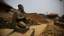 Remains of a collapsed temple are pictured at Bashantapur Durbar Square