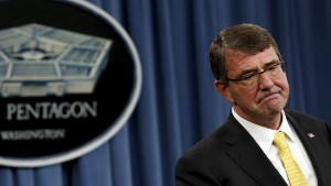 "Defense Secretary Ash Carter speaks at a news conference at the Pentagon in Washington on May 7, 2015. Carter said Sunday that he will find out who was responsible for mistaken shipments of live anthrax  and will ""hold them accountable."" Photo by Yuri Gripas"