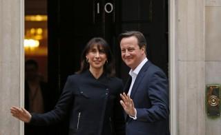 Britain's Prime Minister David Cameron and his wife Samantha will stay at Number 10 Downing Street in London after the Conservatives won a majority of seats in the House of Commons on May 7. Photo by Stefan Wermuth/Reuters