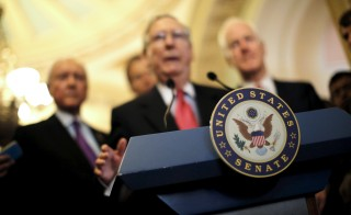 U.S. Senate Majority Leader Mitch McConnell (R-KY) speaks during a news conference following party policy lunch meeting at the U.S. Capitol in Washington. REUTERS/Carlos Barria
