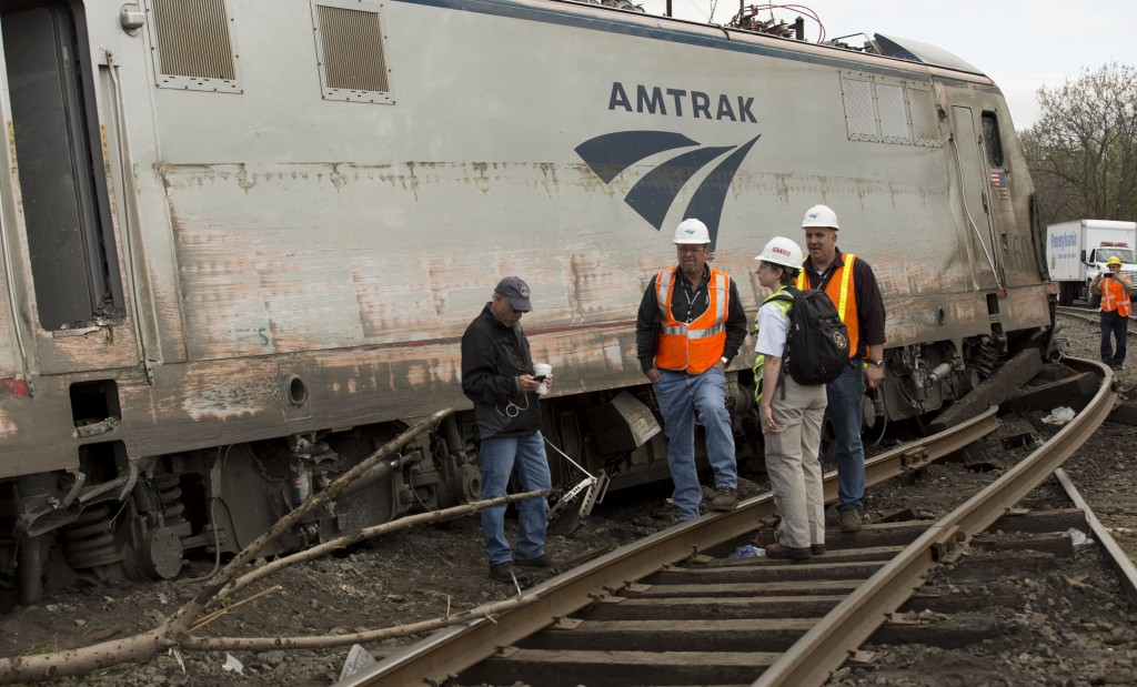 NTSB officials on the scene of the Amtrak Train #188 Derailment in Philadelphia, Pennsylvania in this handout photo provided by the National Transportation Safety Board on May 13, 2015. Handout photo courtesy of NTSB/Reuters
