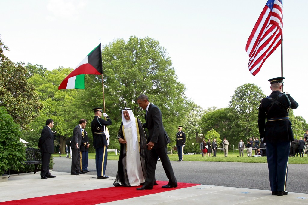 U.S. President Barack Obama (C right) walks with Kuwaiti Crown Prince Nawaf Al-Ahmad Al-Jaber Al-Sabah (C left) as he plays host to leaders and delegations from the Gulf Cooperation Council countries at the White House in Washington May 13, 2015. Photo by Jonathan Ernst/Reuters