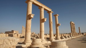 Columns are pictured in the historical city of Palmyra