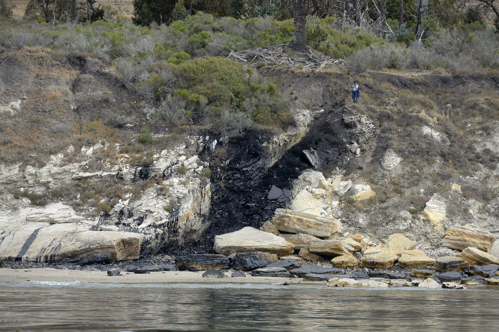 This is the source of the oil spill near Refugio State Beach after a massive spill on the California coast in Goleta, California, May 21, 2015. Photo by Kevork Djansezian/Reuters